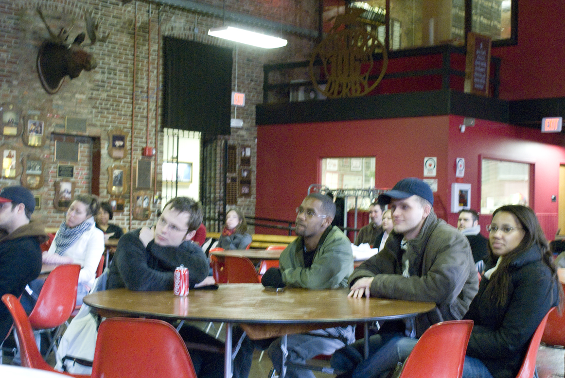 Students in Red Barn watch inauguration