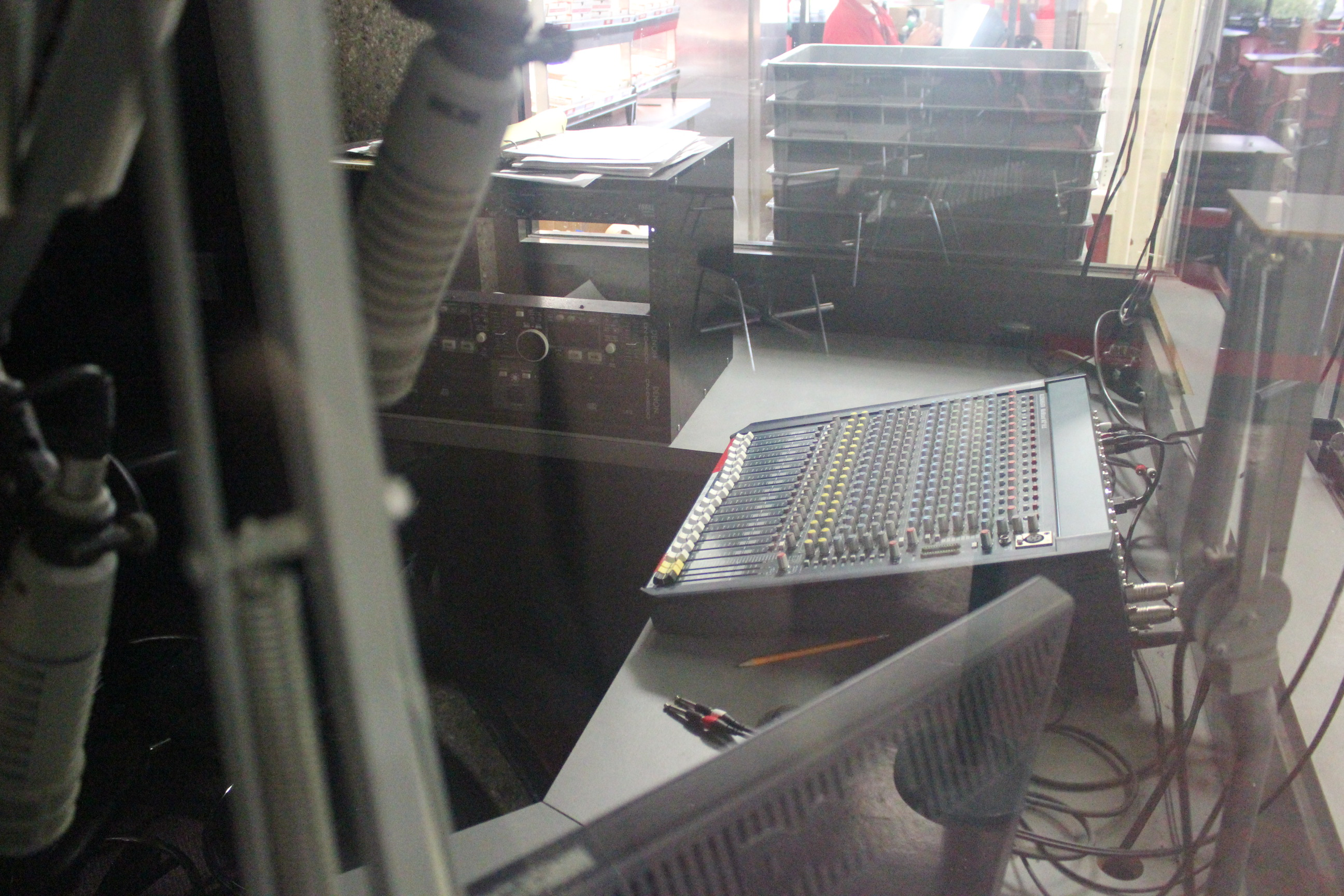 Control panels in the radio station gather dust after months of neglect. The WLCV radio station was shut down at the beginning of the fall 2012 semester.