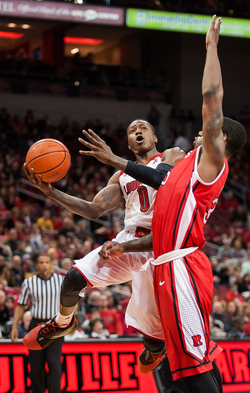 Freshman guard Terry Rozier scores a career high 16 points in the Cards 102-54 victory over the Rutgers Scarlet Knights.