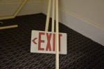 This exit sign was not yet hung in its intended position.