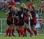 The Cards convene in celebration of freshman Chatham DeProspo's game winning goal.