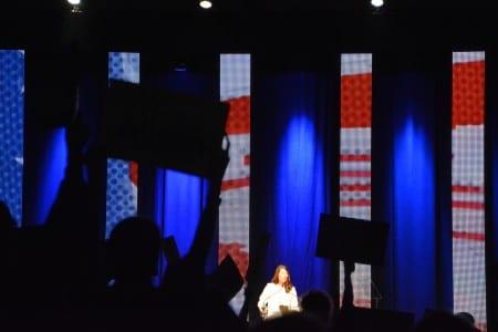 Grimes addresses the crowd.