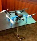 An example of a drone that Murray and his graduate students have been working with at Auburn University. This is called a quadcopter, which the students have attached a GoPro to. They were leading a studying to improve collision avoidance features of drones