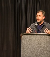 Tim Wise speaking to a full crowd November 17th in the Student Activities Center. Photos by Sasha Perez.