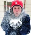 Sophomore electrical engineering major Joel Fritz plays in the snow for the first time.