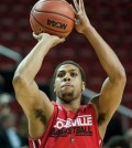 Wayne Blackshear shoots threes during a practice session at Key Arena.