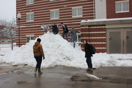 Students playing in the snow. Taken by Samantha Crowder.