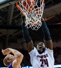 Junior forward Montrezl Harrell dunks over a Northern Iowa player
