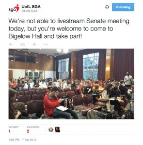 Students saw the first draft of SAC renovation plans today at the SGA senate meeting.