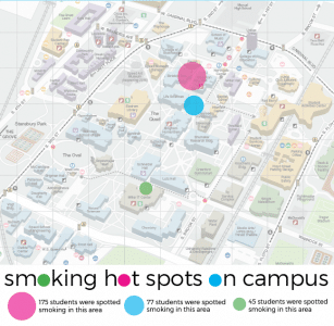 Our reporters tracked the smoking hot spots on campus over the course of three days.
