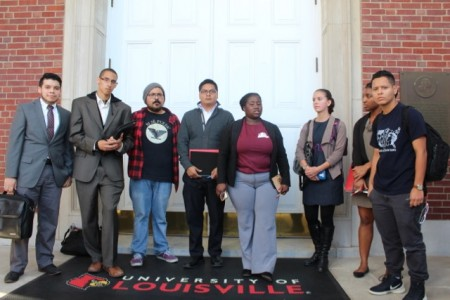 A group of students met with President Ramsey to discuss his Halloween costume choice at a staff luncheon.