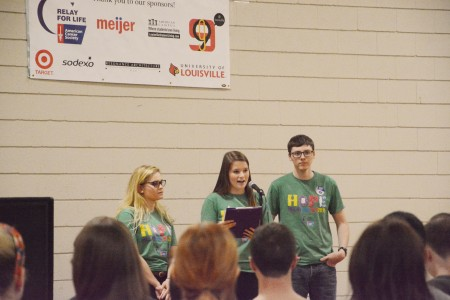 Marie Burns, Alice Darling, and Charles Shofner open up UofL Relay for Life