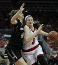 Freshman Sam Fuehring drives to the basket in the first half.