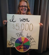 "Annemarie Reynolds, winner of the Study Abroad Fair ""Spin the Wheel"" contest"