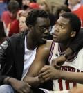 Mangok Mathiang consoles Jaylen Johnson after the technical foul.