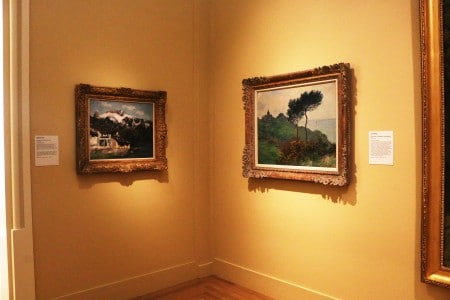 In an unassuming corner, a Courbet hands side-by-side with a Monet. Photo by Sarah Rohleder