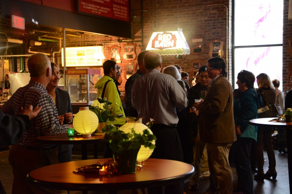 The faculty and staff members enjoying refreshments before the awards are handed out.  Photo by Rachel Knue.