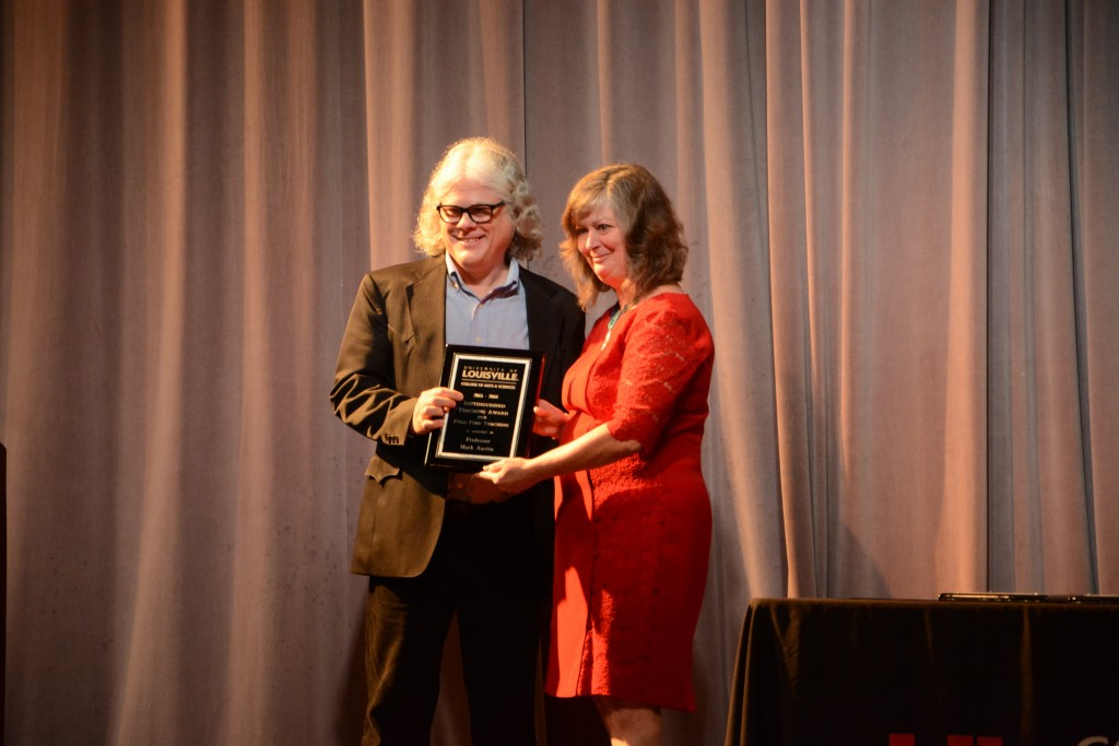 Professor Mark Austin accepts the A&S Distinguished Faculty award for Full-time Teaching.   Photo by Rachel Knue.