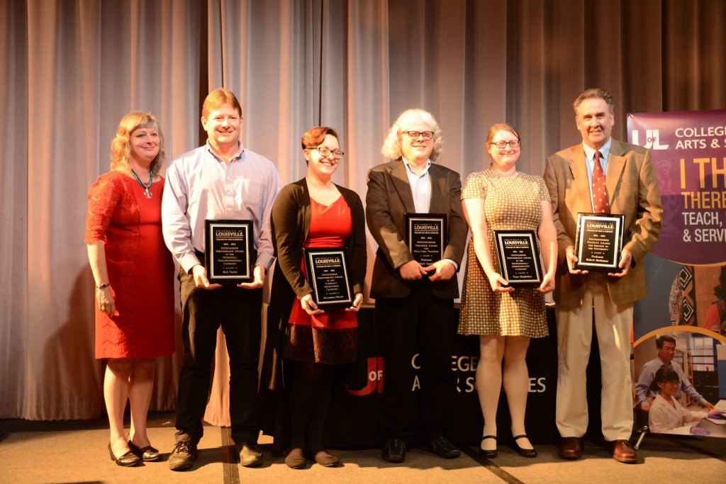 The faculty and staff members who were awarded for excellence within the department. From left to right: Dr. Kimberly Kempf-Leonard, Rick Taylor, Alexandra O'Keefe, Mark Austin, Tracy Heightchew, and Robert Buchanan.   Photo by Rachel Knue.