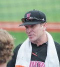 Dan McDonnell talks to his team after the series win.