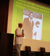 Bagby speaking on Malcom X's specific agenda and role in the development of Islam.Photo by Hannah Filiatreau