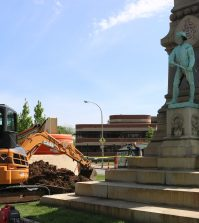 Construction of the monument's removal began on Friday.