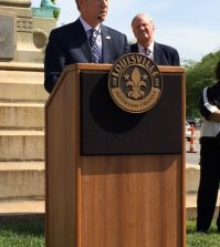 Mayor Greg Fischer announces the removal of the monument.