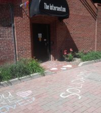 "LGBT Center ""solidarity"" chalk"