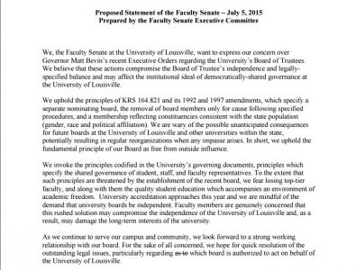 Faculty's full statement railing Bevin's board