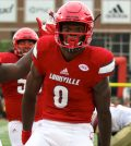 Lamar Jackson heads straight for the camera after scoring a touchdown.