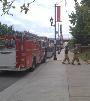 Fire trucks near chemical building