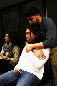 Freshman Leo Salinas Chacón comforts and supports Luis Jorge Arduz.