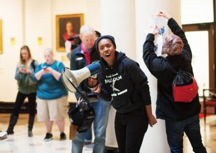 Students rallied against Ramsey inside Grawemeyer Hall on Friday, Oct. 30