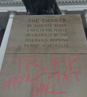 Thinker statue vandalized