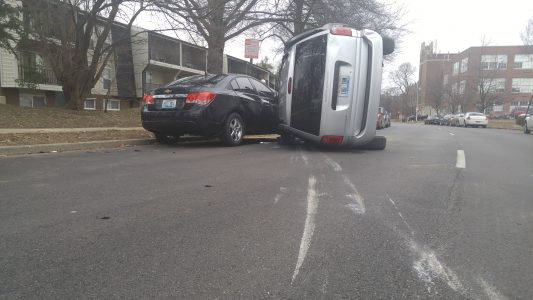 car accident, van, flip, 2nd street, cardinal boulevard