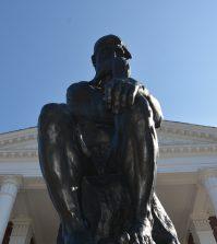Grawemeyer hall, thinker, thinker statue, u of l, louisville, university of louisville